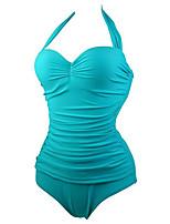 Summer Retro Female's Swimwear Light Blue