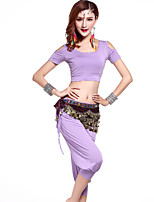 Belly Dance Outfits Women's Training Modal Gold Coins / Sash/Ribbon 3 Pieces Black / Light Green / Purple / Burgundy Belly DanceShort