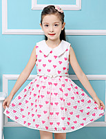 Girl's Cotton Summer Lapel  Love  Princess  Jumper Skirt  Lace Dress