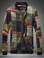 Men's Long Sleeve Casual Jacket,Polyester Plaids Yellow