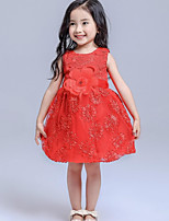 Girl's Pink / Red Dress,Floral Cotton Summer / Spring