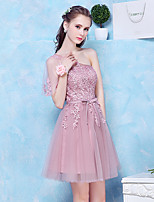 Short / Mini Tulle Bridesmaid Dress A-line One Shoulder with Appliques / Sash / Ribbon