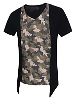 Men's Fashion Personality Camouflage Fake Two Mesh Slim Fit Short Sleeve T-Shirt, Cotton /Polyester