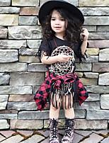 Girl's Cotton Fashion Joker Black Tassels Dress