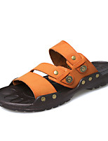 Zapatos de Hombre-Chanclas-Casual-PU-Negro / Marrón