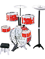 Wood Red Jazz Drum for Children Above 3 Musical Instruments Toy