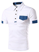Men's Fashion Classic Stitching Lapel Short-Sleeve Polos, Cotton/Polyester