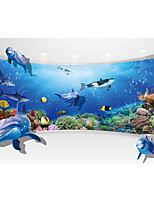 JAMMORY Art Deco Wallpaper Contemporary Wall Covering,Canvas Stereoscopic Large Mural Spectacular Views of Deep-sea Fish