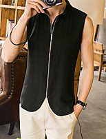 Outdoor Black Hooded Vests For Men Solid Coats Male Slim Fit Sleeveless Jackets Flax Fitness Fashion High Quality
