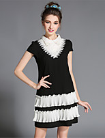 Summer Plus Size Women Retro Elegant Bead Embroidered Lace Ruffle Pleated Knee Length Party/Daily Dress