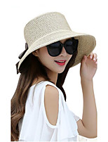 Women Summer Autumn Solid Straw Bowknot Middle Brim Foldable Straw Sun Hat