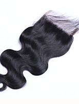 Brazilian Body Wave Lace Closure Free Middle 3 Part Virgin Hair Closure With Part Swiss Lace Bleached Knots