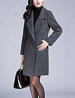 Women's Party/Cocktail Street chic Pea Coats,Solid Shirt Collar Long Sleeve Winter Gray Faux Fur / Cotton Thick