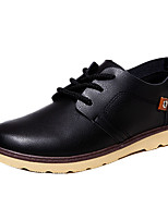 Men's Flats Spring / Fall Comfort Leatherette Casual Flat Heel Lace-up Black / Blue / White / Black and White Walking