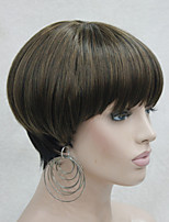 Fashion Center Dot Skin Top Strawberry Blonde Mix Black Bob Mushroom Style wig with Bangs