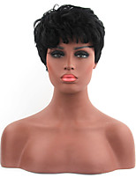 Fashionable Black Color Short Length Straight Cosplay Synthetic Wigs