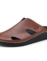 Zapatos de Hombre-Sandalias-Exterior / Casual-Cuero-Negro / Azul / Marrón
