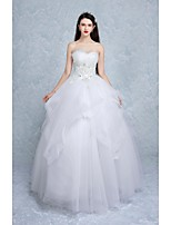 Ball Gown Wedding Dress-White Floor-length Sweetheart Tulle