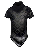 Men's Fashion Personality Turtlenecks Mesh Perspective Slim Fit Short Sleeve T-Shirt, Cotton /Polyester