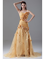 Formal Evening Dress Trumpet / Mermaid Sweetheart Sweep / Brush Train Organza with Flower(s) / Pleats