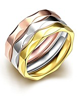 lureme® Vintage Classic Tricolor Stainless Steel with Waving Lines Womens Girls Rings 3 Pcs A Set