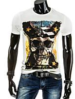 Print-Informeel / Werk / Formeel / Sport-Heren-Katoen-T-shirt-Korte mouw Zwart / Wit / Grijs