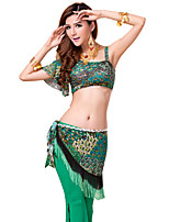 Belly Dance Outfits Women's Training Lace / Milk Fiber Pattern/Print 3 Pieces Green Belly Dance Sleeveless / Short Sleeve NaturalPants /