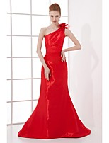 Formal Evening Dress Trumpet / Mermaid One Shoulder Sweep / Brush Train Taffeta with Flower(s) / Pleats