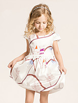 Girl's Casual/Daily Print Dress,Cotton / Polyester Summer / Spring Beige