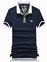 Men's Fashion Slim Jacquard 100% Cotton Short Sleeved Polo,Cotton Casual Floral