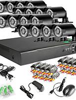 960H red 16CH DVR 16pcs sistema de circuito cerrado de televisión al aire libre IR 1000tvl cámaras de seguridad
