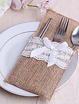 6 Piece/Set Jute Favor Bags Burlap Lace Tableware Pouch Cutlery Holder Wedding Decoration Favors (10.5cm*20.5cm)
