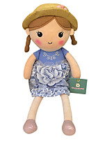 Genuine Spring Girl Doll Plush Toy Doll Baby Doll To Appease Doll Gift Girls Hat Blue Dress Sitting Height 35Cm