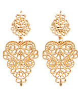 Retro Hollow Flower Alloy Of Gold And Silver Two-color  Earrings