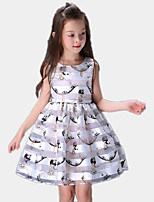 Girl's Casual/Daily Print Dress,Cotton / Polyester All Seasons Blue / White