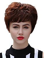 fulffy natural de la onda corta sin tapa cabello humano Remy mano ató la peluca de mujer repetición la máquina