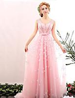 Formeller Abend Kleid Ballkleid V-Ausschnitt Pinsel Schleppe Tüll mit Perlstickerei