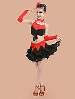 Accesorios(Negro / Azul,Espándex / Poliéster,Danza Latina) -Danza Latina- paraNiños Cristales/Rhinestones / Plisado Representación