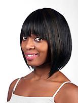 cheveux raides naturel perruques synthétiques capless couleur mélangée longueur moyenne de haute qualité