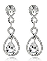 4 Color Available Drops Shape Cubic Zrconia Crystal Drop Earrings Jewelry for Lady(1.7*5.3cm)
