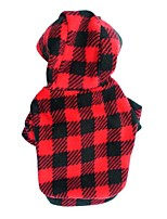 Chat / Chien Pulls à capuche / T-shirt Rouge / Rouge Rose Printemps/Automne Tartan / Pois Mode-Pething®, Dog Clothes / Dog Clothing