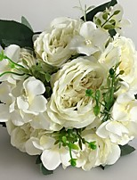 Wedding Flowers Round Peonies Bouquets Wedding / Party/ Evening White Satin 9.84