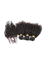 Brazilian Curly Hair With Closure Kinky Curly Virgin Hair 3 Bundles With Closure Kinky Curly Virgin Hair With Closure