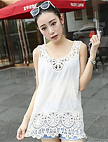 Women's Going out Street chic Blouse,Solid Round Neck Sleeveless White Polyester Medium
