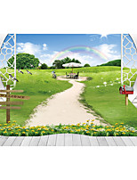JAMMORY Art Deco Wallpaper Contemporary Wall Covering,Canvas Stereoscopic Large Mural Rainbow Meadow