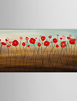 Hand Painted Oil Painting Abstract Red Flower Wall Art with Stretched Frame