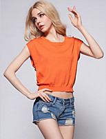 Women's Solid Blue / White / Black / Orange / Yellow Pullover,Simple / Street chic Short Sleeve