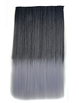 26 Inch Clip in Synthetic Black Gray Color Straight Hair Extensions with 5 Clips