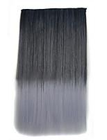 clipe de 26 polegadas na cor cinzenta extensões de cabelos lisos pretos sintéticas com 5 grampos