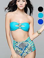 Venus queen Women's Bandeau Bikini,Cutout / Boho Nylon / Spandex Black / Light Green / Light Blue / Royal Blue